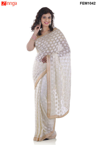 FEMEZONE-Women's Beautiful White Color Chiffon Saree - FEM1042 - White