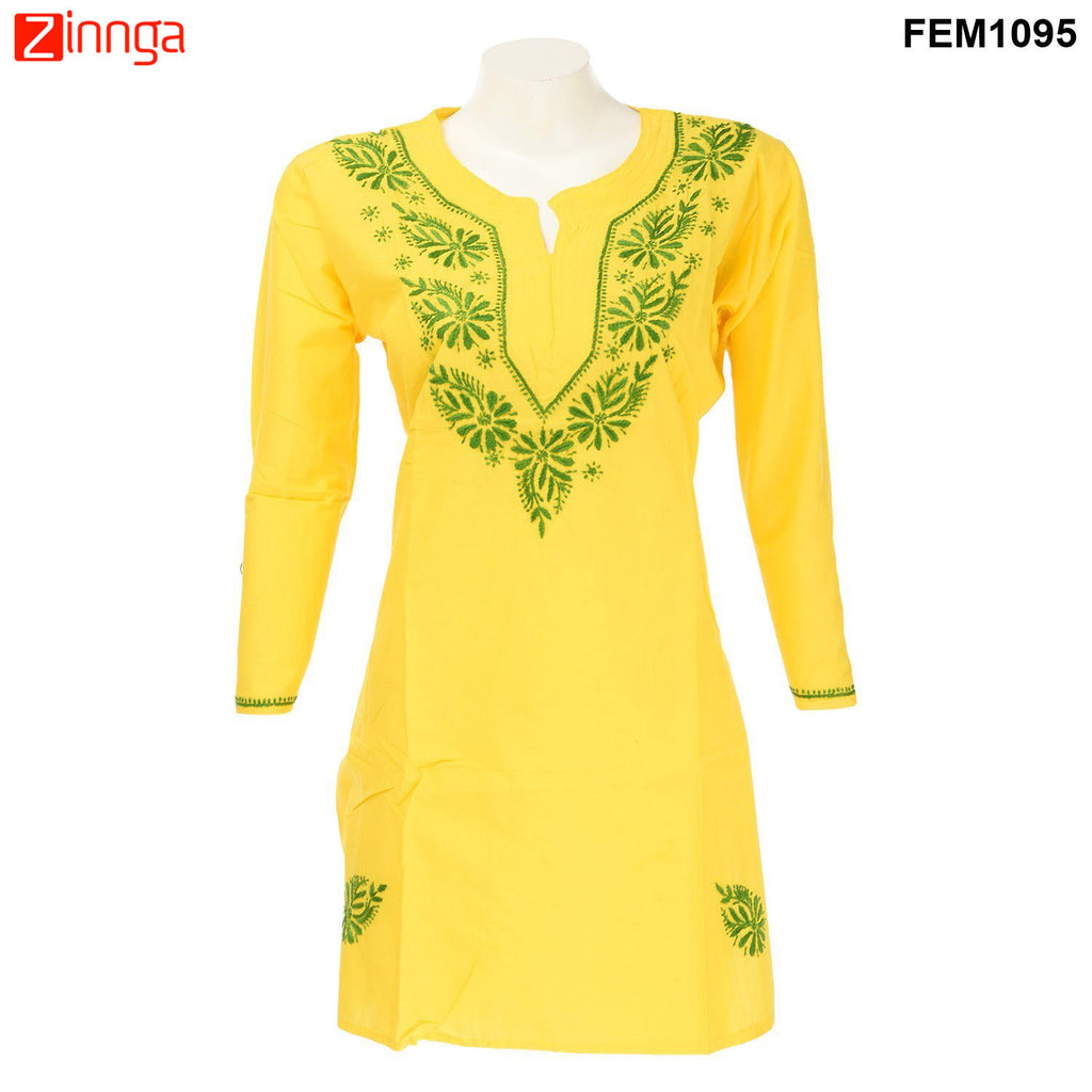 Beautiful Cotton Chiken Kari Work Kurti