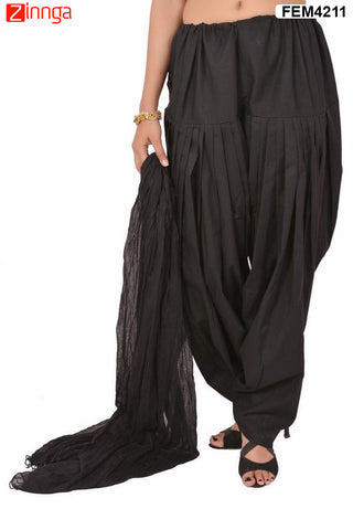 FEMEZONE-Women's Nice Looking Cotton CasualWear Patiyala Pants - FEM4211 - Black
