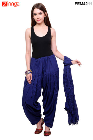 FEMEZONE-Women's Nice Looking Cotton CasualWear Patiyala Pants - FEM4211 - Blue
