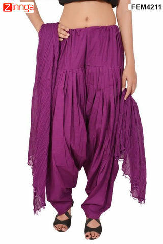 FEMEZONE-Women's Nice Looking Cotton CasualWear Patiyala Pants - FEM4211 - Maroon