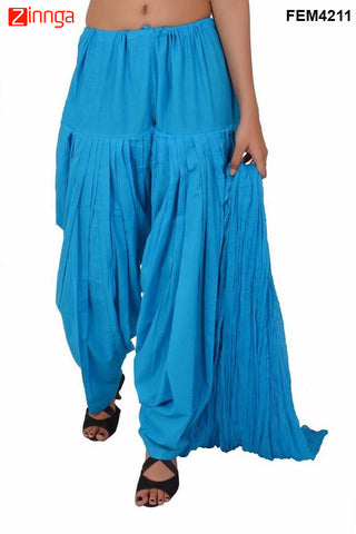 FEMEZONE-Women's Nice Looking Cotton CasualWear Patiyala Pants - FEM4211 - SkyBlue