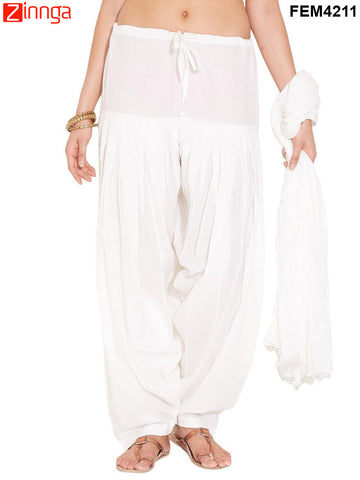 FEMEZONE-Women's Nice Looking Cotton CasualWear Patiyala Pants - FEM4211 - White