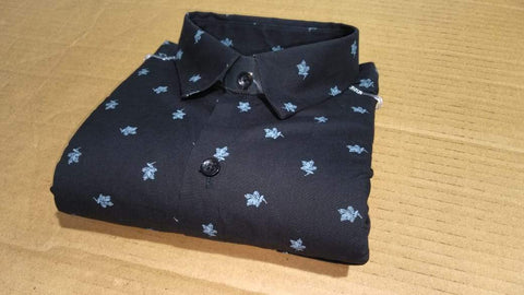 Black Color Cotton Men's Printed Shirt - FF0001