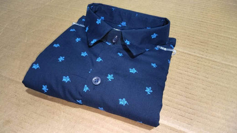 Blue Color Cotton Men's Printed Shirt - FF0002