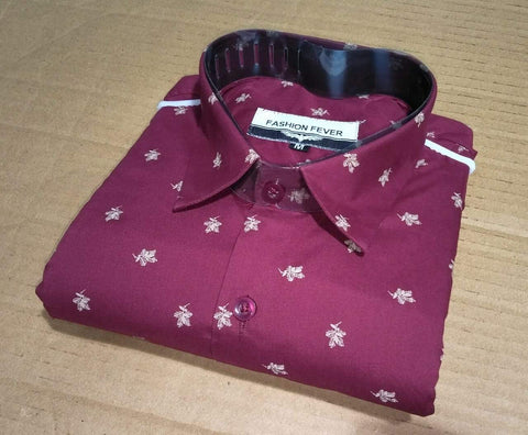 Red Color Cotton Men's Printed Shirt - FF0003
