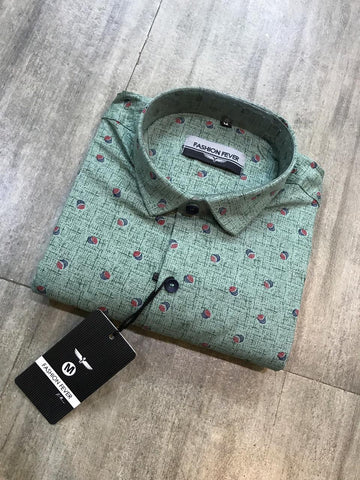 Green Color Cotton Men's Printed Shirt - FF0010