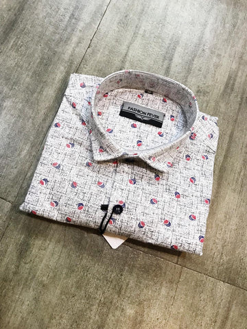 White Color Cotton Men's Printed Shirt - FF0012