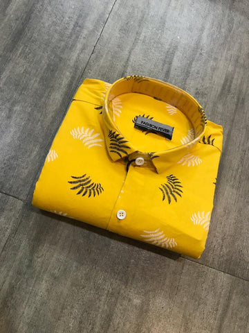 Yellow Color Cotton Men's Printed Shirt - FF0017