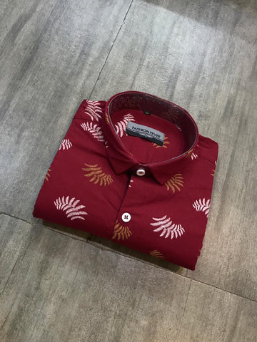 Red Color Cotton Men's Printed Shirt - FF0019