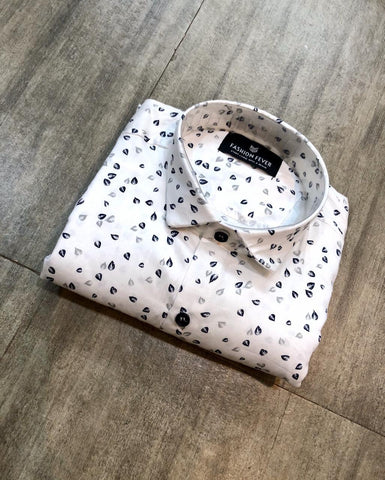 White Color Cotton Men's Printed Shirt - FF0031-WHITE