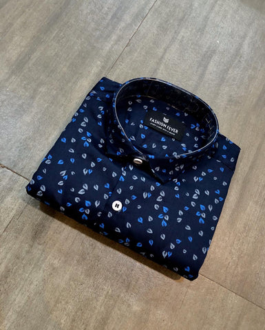 Navy Color Cotton Men's Printed Shirt - FF0032-NAVY