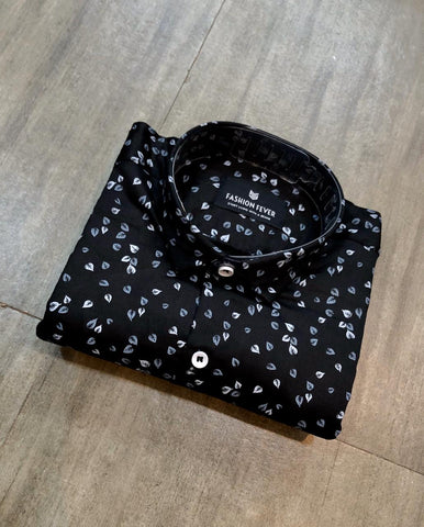 Black Color Cotton Men's Printed Shirt - FF0033-BLACK