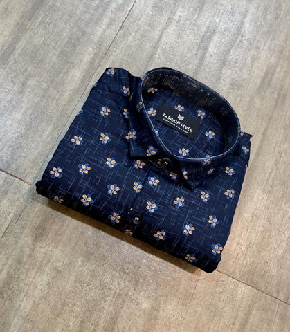 Navy Color Cotton Men's Printed Shirt - FF0036-NAVY