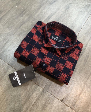 Red Color Cotton Men's Printed Shirt - FF0043-RED