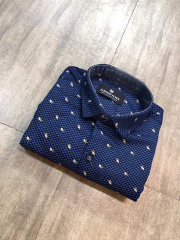 Navy Color Cotton Men's Printed Shirt - FF0045-NAVY