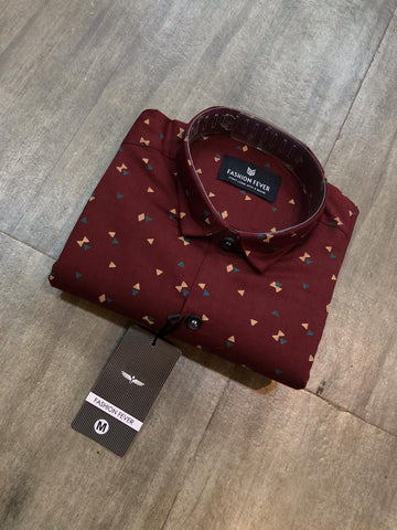 Red Color Cotton Men's Printed Shirt - FF0047-RED