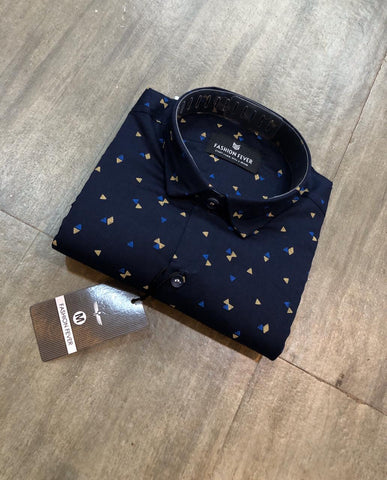 Navy Color Cotton Men's Printed Shirt - FF0048-NAVY