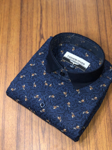 Navy Color Cotton Men's Printed Shirt - FF0051