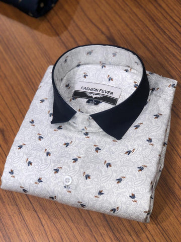 White Color Cotton Men's Printed Shirt - FF0052