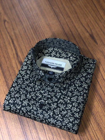 Black Color Cotton Men's Printed Shirt - FF0053
