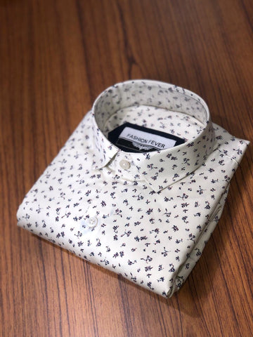 White Color Cotton Men's Printed Shirt - FF0054
