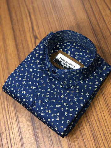 Navy Color Cotton Men's Printed Shirt - FF0055