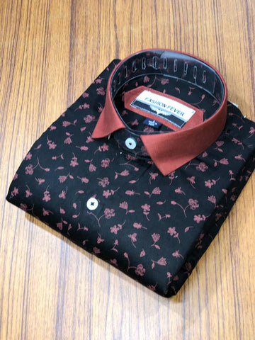 Black Color Cotton Men's Printed Shirt - FF0061