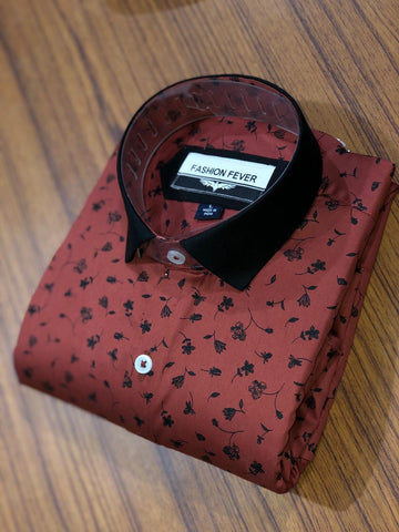 Brown Color Cotton Men's Printed Shirt - FF0062