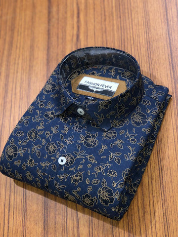Navy Color Cotton Men's Printed Shirt - FF0064