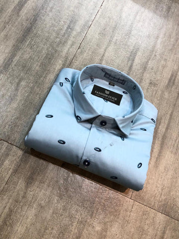 Light Sky Blue Color Cotton Satin Men's Printed Shirt - FF0087