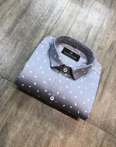 Grey Color Cotton Satin Men's Printed Shirt - FF0088