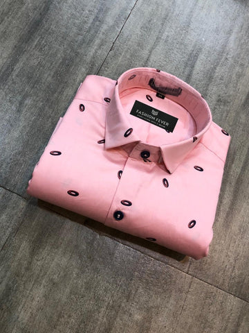 Peach Color Cotton Satin Men's Printed Shirt - FF0089