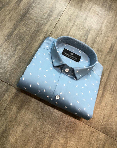 Light Blue Color Cotton Satin Men's Printed Shirt - FF0090