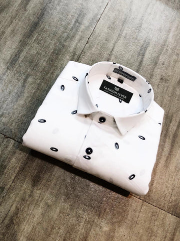 Off White Color Cotton Satin Men's Printed Shirt - FF0092
