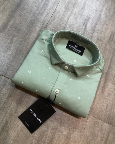 Olive Green Color Cotton Men's Printed Shirt - FF0096