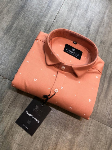 Orange Color Cotton Men's Printed Shirt - FF0100