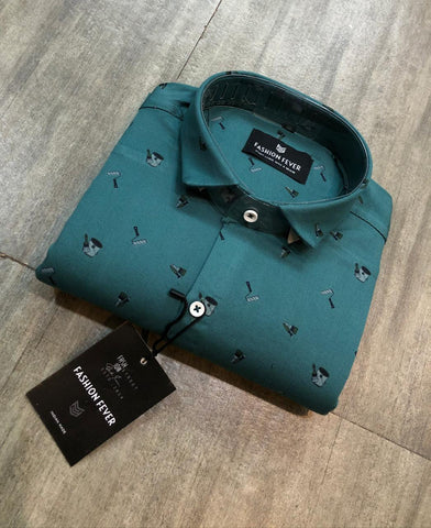 Blue Teal Color Premium Cotton Men's Printed Shirt - FF0116
