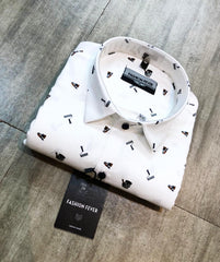 Buy White Color Premium Cotton Men's Printed Shirt