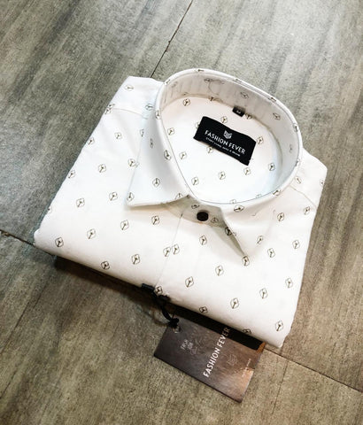 White Color Premium Cotton Men's Printed Shirt - FF0119