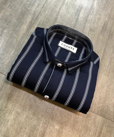 Navy Color Premium Cotton Men's Striped Shirt - FF0122
