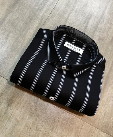 Black Color Premium Cotton Men's Striped Shirt - FF0123
