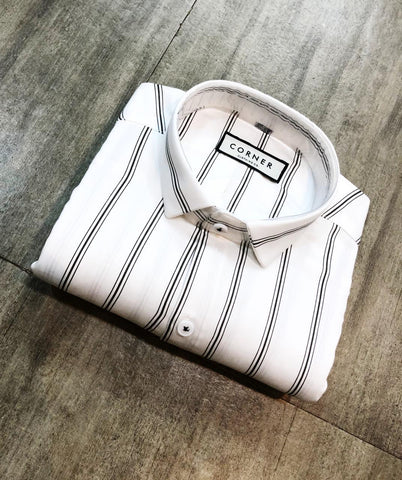 White Color Premium Cotton Men's Striped Shirt - FF0124