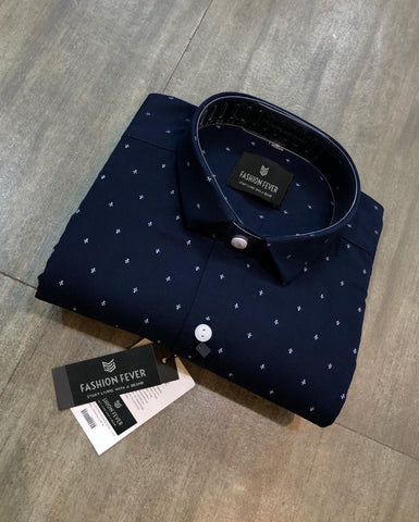 Navy Color Premium Cotton Men's Printed Shirt - FF0142