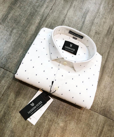 White Color Premium Cotton Men's Printed Shirt - FF0143