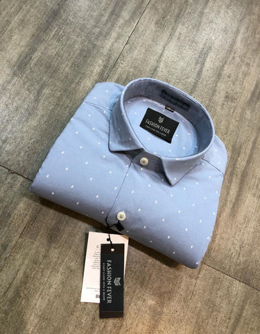 Grey Color Premium Cotton Men's Printed Shirt - FF0144