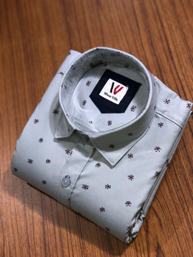 Buy Grey Color Premium Cotton Men's Printed Shirt