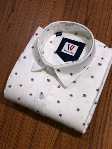 White Color Premium Cotton Men's Printed Shirt - FF0146