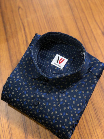 Navy Color Premium Cotton Men's Printed Shirt - FF0151