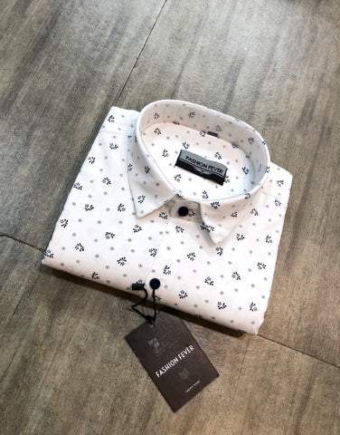 White Color Premium Cotton Men'S Printed Shirt - FF0172